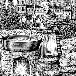 Grabado en blanco y negro de un monje preparando cerveza. Cerveza receta antigua medieval edad media antigüedad monasterio