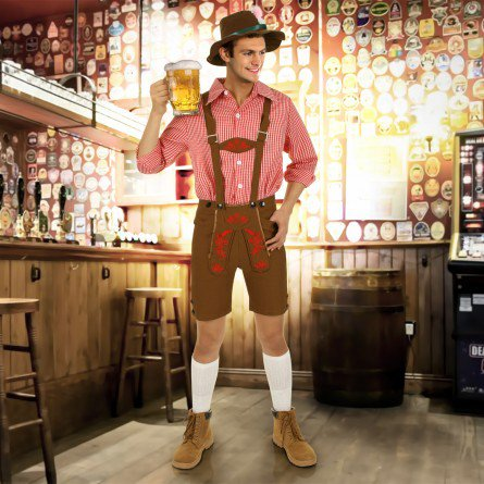 Ropa tradicional Oktoberfest cerveza baviera cheve chela short sombrero