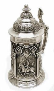 Tarro cerveza vaso stein metal bello grabado cuadro tapa cheve edad media